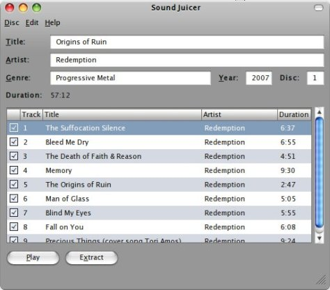 Screenshot Sound Juicer